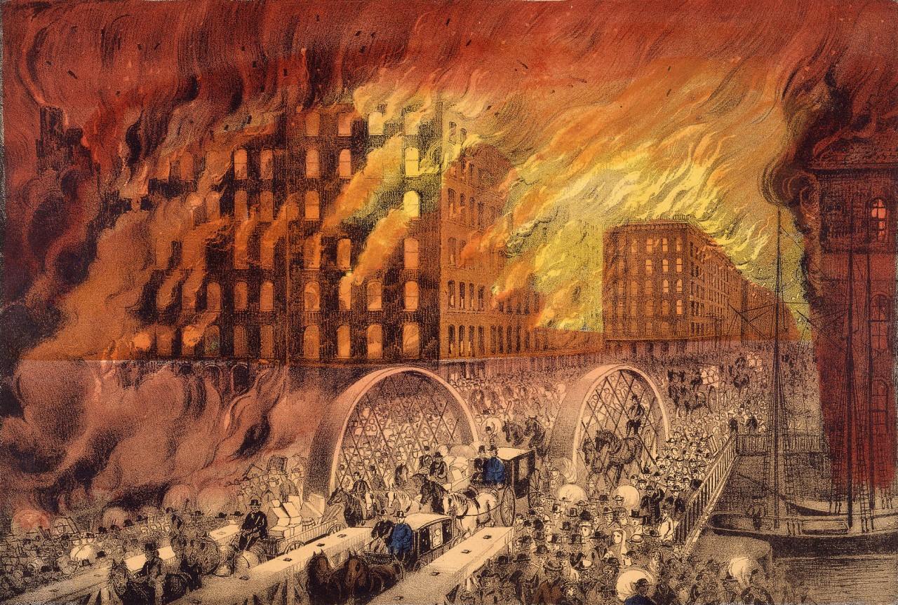 The Great Chicago Fire Currier & Ives Lithograph Of The Fire (1871)